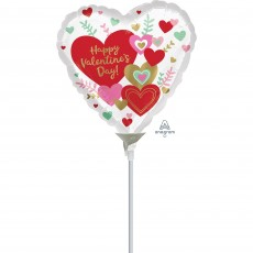 Heart Wishes Happy Valentine's Day Shaped Balloon 10cm