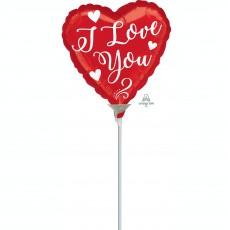Heart White Script I Love You Shaped Balloon 10cm