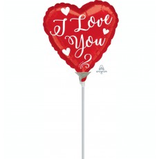 Heart White Script I Love You Shaped Balloon 22cm