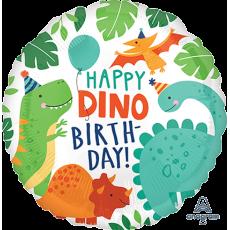 Round Dinosaur Standard HX Happy Dino Birthday! Foil Balloon 45cm