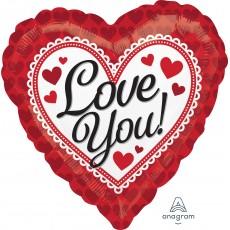 Love Standard HX Red Heart Border Foil Balloon