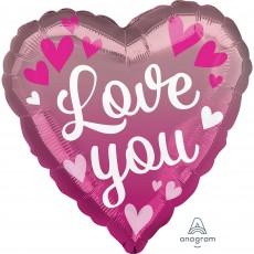 Heart Standard HX Pink Ombre Love You Shaped Balloon 45cm