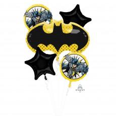 Yellow Batman Bouquet Foil Balloons Pack of 5