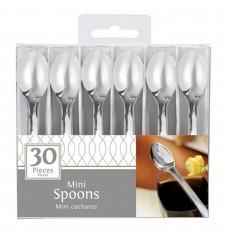 Silver Mini Plastic II Spoons 10cm Pack of 30