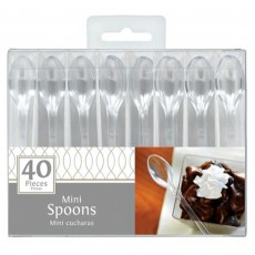 Clear Mini Catering Plastic Spoons 10cm Pack of 40