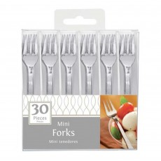 Silver Mini Plastic Forks 10cm Pack of 30