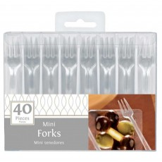Clear Mini Catering Plastic Forks 10cm Pack of 40