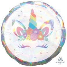Unicorn Fantasy Standard Holographic Iridescent Unicorn Party Foil Balloon