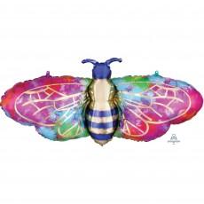 Feeling Groovy & 60's SuperShape XL Tie-Dye Bee Shaped Balloon 99cm x 45cm
