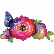 Multi Colour SuperShape XL Satin Infused Flowers & Butterfly Shaped Balloon 93cm x 48cm
