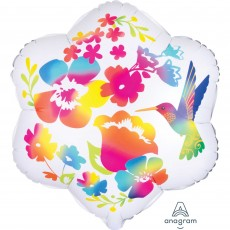 Hawaiian Luau Satin Infused Watercolour Flowers & Hummingbird Shaped Balloon