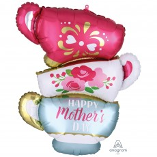 Teacups SuperShape XL Satin Infused Happy Mother's Day Shaped Balloon 60cm x 76cm