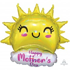 Mother's Day Happy Sun SuperShape Holographic Iridescent Shaped Balloon