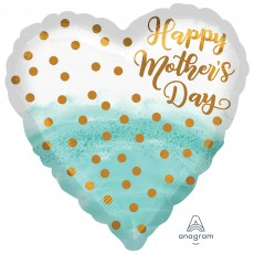Heart Standard HX Watercolour & Gold Dots Happy Mother's Day Shaped Balloon 45cm
