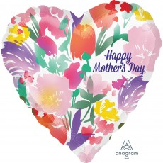 Heart Standard HX Watercolour Flowers Happy Mother's Day Shaped Balloon 45cm