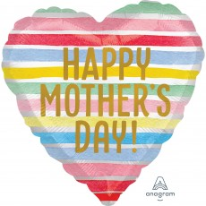 Heart Standard XL Satin Infused Stripes Happy Mother's Day! Shaped Balloon 45cm