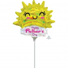 Mini Holographic Iridescent Happy Sun Happy Mother's Day Shaped Balloon