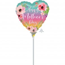 Heart Flowers & Ombre Happy Mother's Day Shaped Balloon 22cm