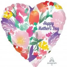 Heart Jumbo HX Watercolour Flowers Happy Mother's Day Shaped Balloon 71cm