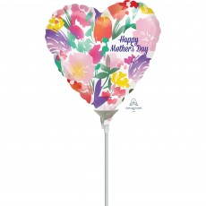 Heart Watercolour Flowers Happy Mother's Day Shaped Balloon 22cm