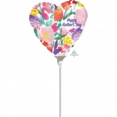 Heart Watercolour Flowers Happy Mother's Day Shaped Balloon 10cm