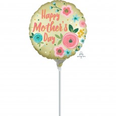 Round Satin Infused Pastel Yellow Happy Mother's Day Foil Balloon 22cm