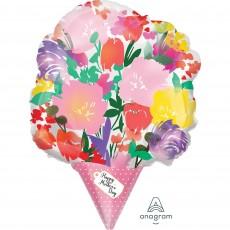 Shape XL Watercolour Flower Bouquet Happy Mother's Day Shaped Balloon 35cm x 45cm