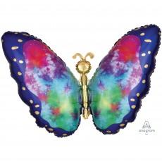Feeling Groovy & 60's XL Tie-Dye Butterfly Shaped Balloon 66cm x 53cm