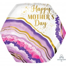 SuperShape XL Watercolour Geode Happy Mother's Day Shaped Balloon 58cm x 55cm