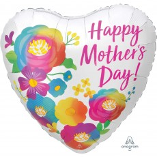 Heart Standard XL Satin Infused Beautiful Flowers Happy Mother's Day! Shaped Balloon 45cm