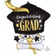 Graduation SuperShape XL Cap & Diploma Congrats Grad Shaped Balloon 58cm x 63cm