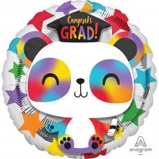 Round Graduation Standard HX Panda Congrats Grad! Foil Balloon 45cm