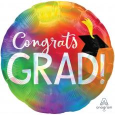 Round Graduation Standard Holographic Iridescent Congrats Grad! Foil Balloon 45cm