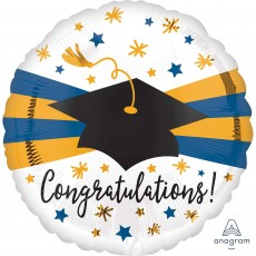 Round Graduation Standard HX Blue & Gold Congratulations! Foil Balloon 45cm