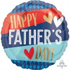 Round Standard Stripes & Argyle Pattern Happy Father's Day! Foil Balloon 45cm
