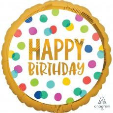 Happy Birthday Dots Standard HX Foil Balloon 45cm