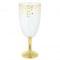 Clear Gold Jumbo Tall Wine Pedestal Glass Plastic Glass