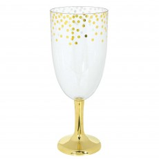 Gold Clear Jumbo Tall Wine Pedestal Glass Plastic Glasse