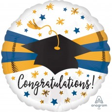 Graduation Jumbo HX Blue & Gold Foil Balloon