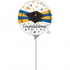 Round Graduation Blue & Gold Congratulations! Foil Balloon 22cm
