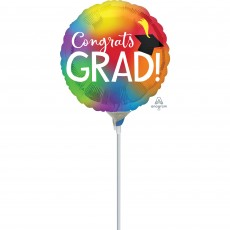 Round Graduation Colourful Congrats Grad! Foil Balloon 22cm