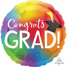 Round Graduation Jumbo HX Colourful Congrats Grad! Foil Balloon 71cm