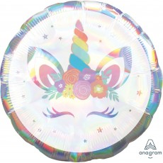Unicorn Fantasy Jumbo Holographic Iridescent Unicorn Party Shaped Balloon