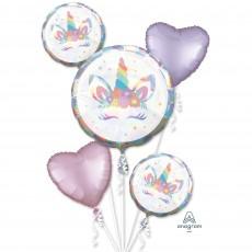Unicorn Fantasy Party Decorations - Foil Balloons Bouquet Unicorn Party