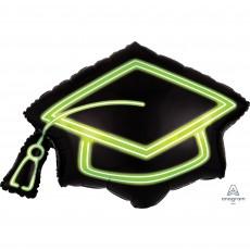 Graduation SuperShape Neon Grad Cap Shaped Balloon 78cm x 55cm