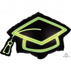 Graduation SuperShape Neon Grad Cap Shaped Balloon