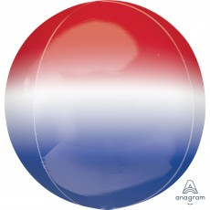 Orbz XL Ombre Red, White & Blue USA Shaped Balloon 38cm x 40cm