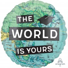 Round Graduation Standard HX The World is Yours Foil Balloon 45cm