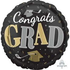 Round Graduation Standard HX Congrats Grad Foil Balloon 45cm