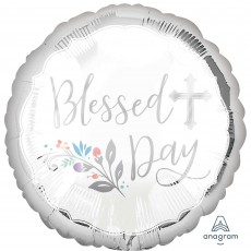 Round First Communion Standard HX Holy Blessed Day Foil Balloon 45cm